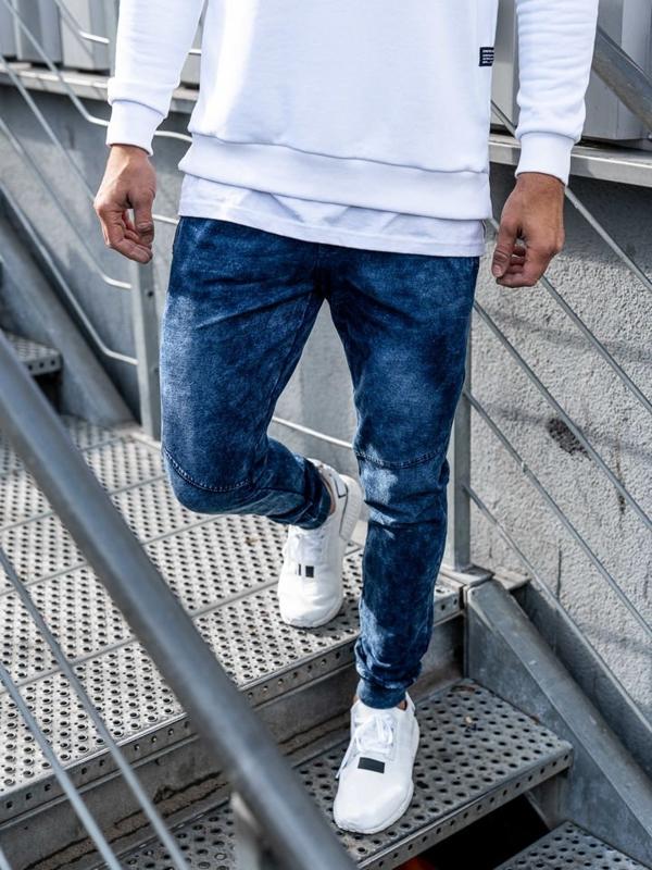 Tmavě modré pánské džínové jogger kalhoty Bolf KK1027