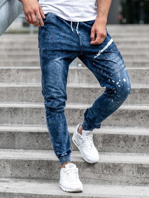 Tmavě modré pánské džínové jogger kalhoty Bolf KK1038