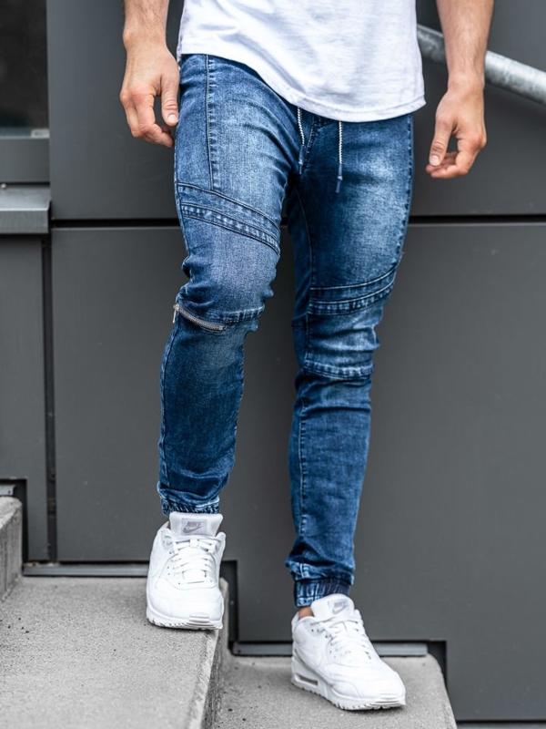 Tmavě modré pánské džínové jogger kalhoty Bolf KS565