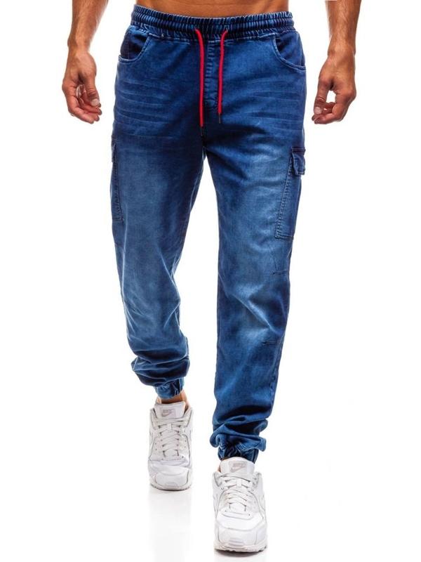 Tmavě modré pánské džínové jogger kalhoty Bolf Y231