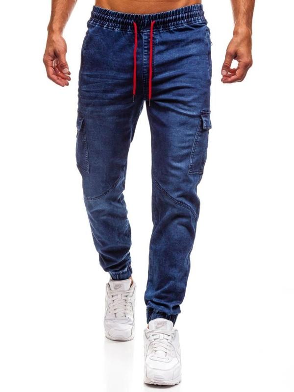 Tmavě modré pánské džínové jogger kalhoty Bolf Y264