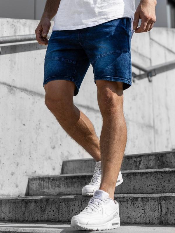 Tmavě modré pánské džínové kraťasy Bolf KK108