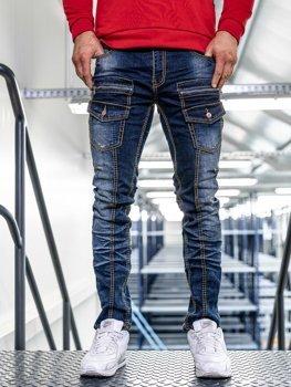 Tmavě modré pánské džíny slim fit Bolf KA9917