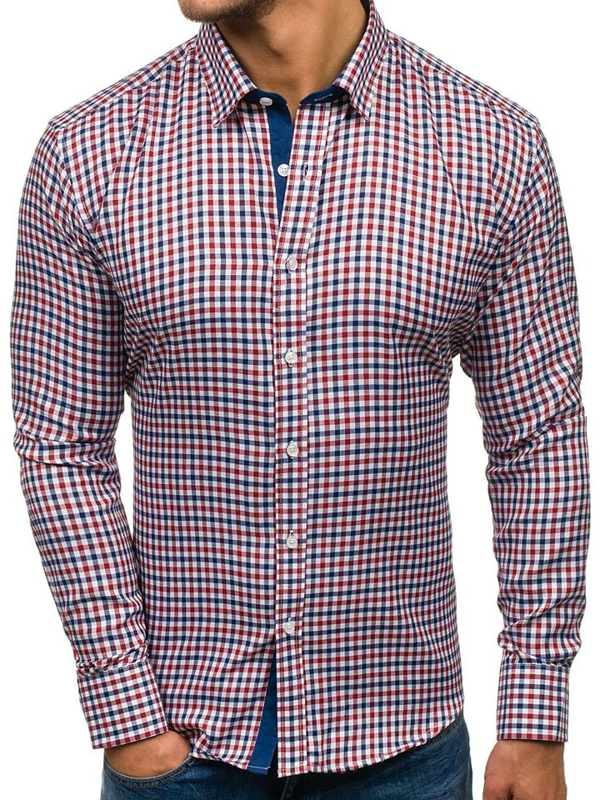 Tmavě modro-červená pánská kostkovaná košile s dlouhým rukávem Bolf GET27