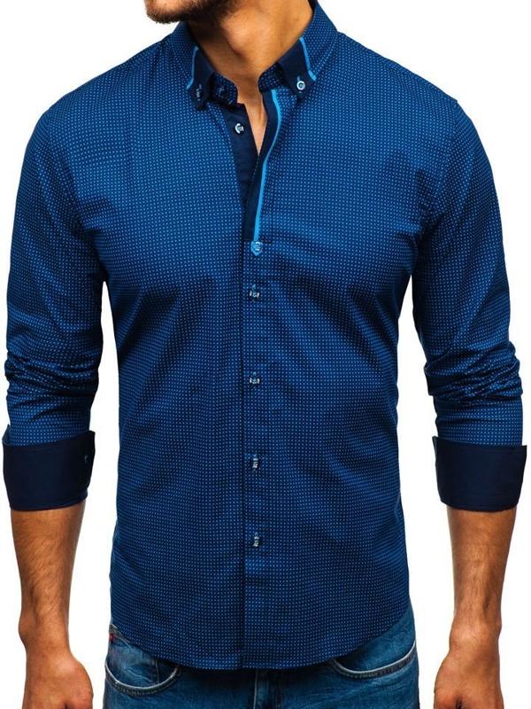 Tmavě modro-modrá pánská vzorovaná košile s dlouhým rukávem Bolf 8844F