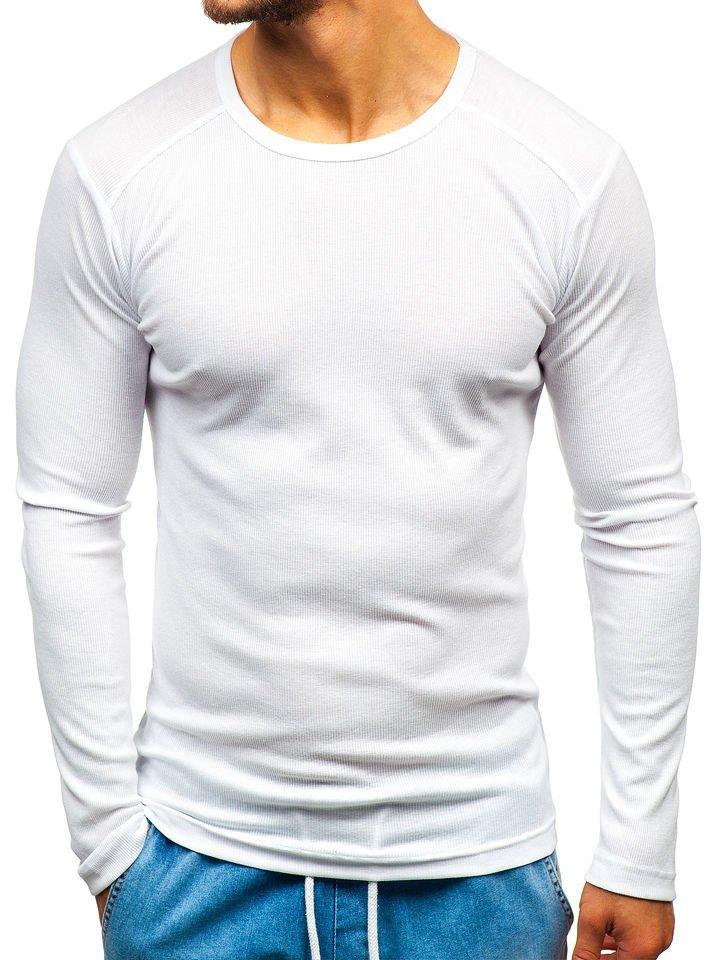 cfb8c136979 Bílá pánská trička s dlouhým rukávem bez potisku 3 Pack Bolf C10038-3P