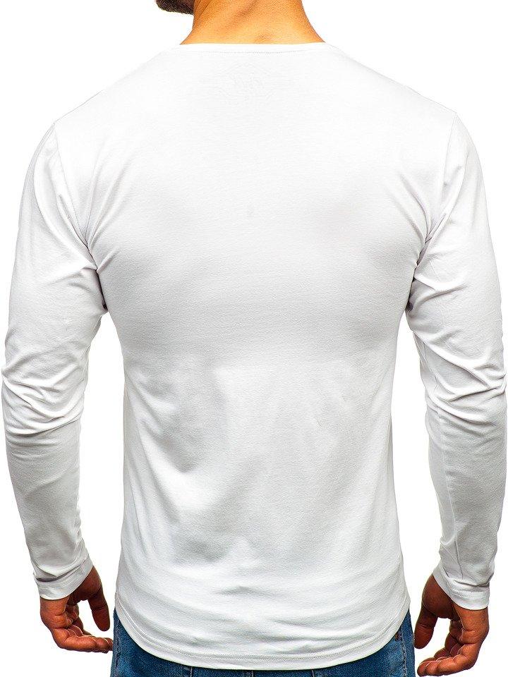 f6a0b25f085 Bílé pánské tričko s dlouhým rukávem bez potisku Bolf 172008