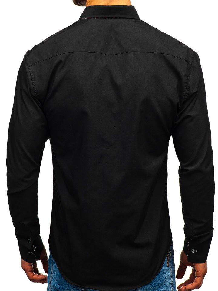 d6e2b496c2b Černá pánská košile s dlouhým rukávem Bolf 3707