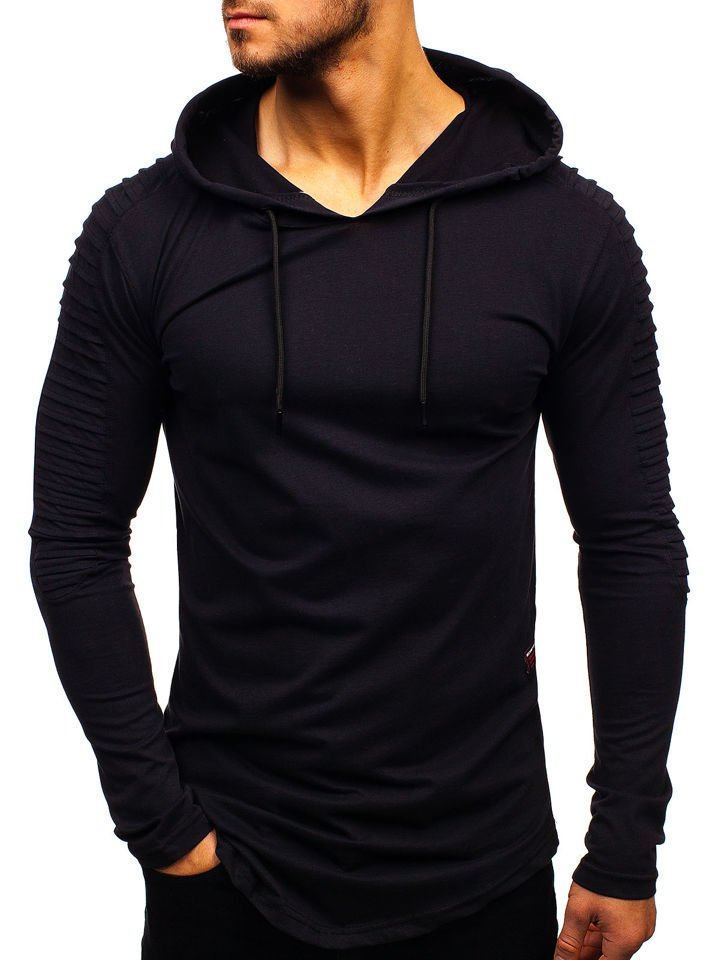 Černé pánské tričko s dlouhým rukávem bez potisku Bolf 2148 82e5aa8256