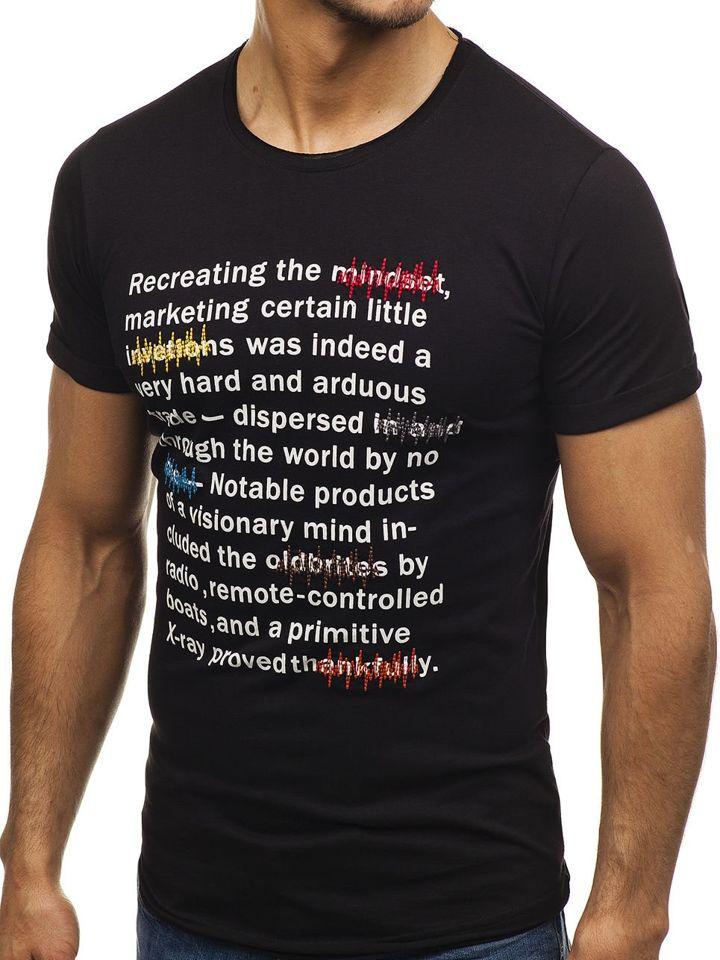 7b1c6e727285 Černé pánské tričko s potiskem Bolf 2307