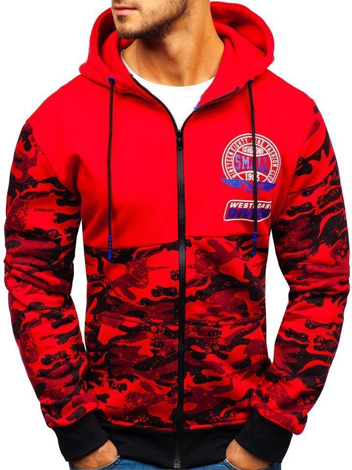 Červená pánská propínací mikina s kapucí Bolf 33011-A ee0e72a2d7