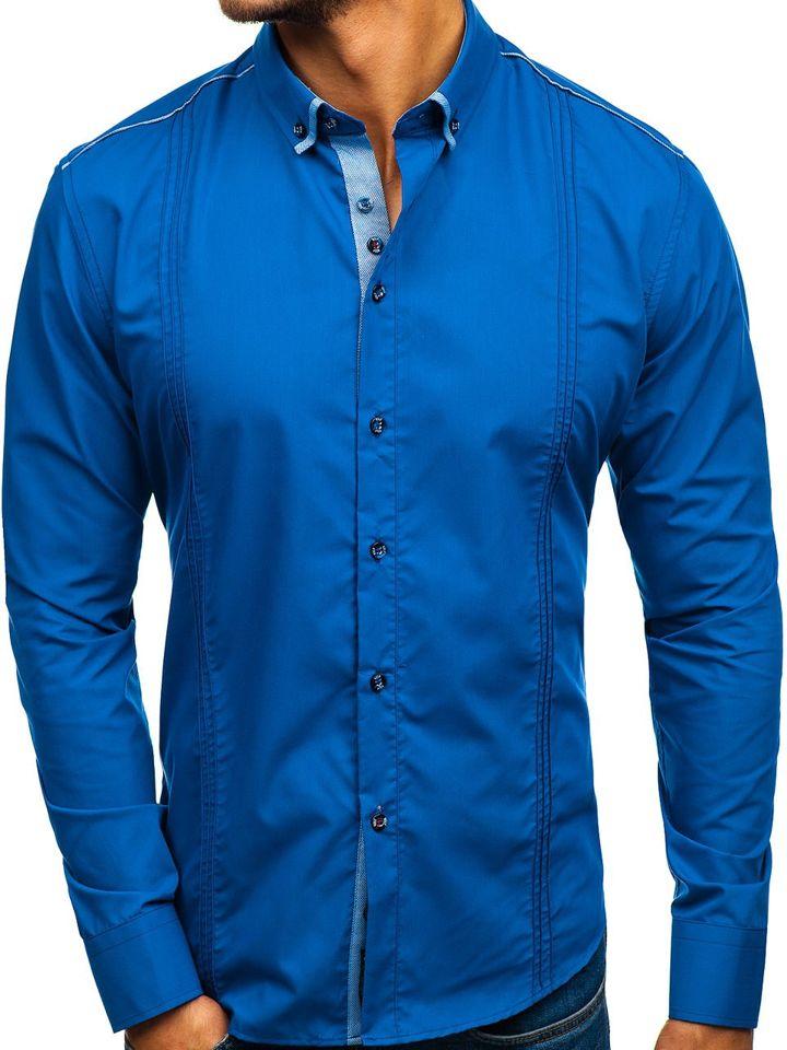 Královsky modrá pánská elegantní košile s dlouhým rukávem Bolf 8821 976dfbb19e