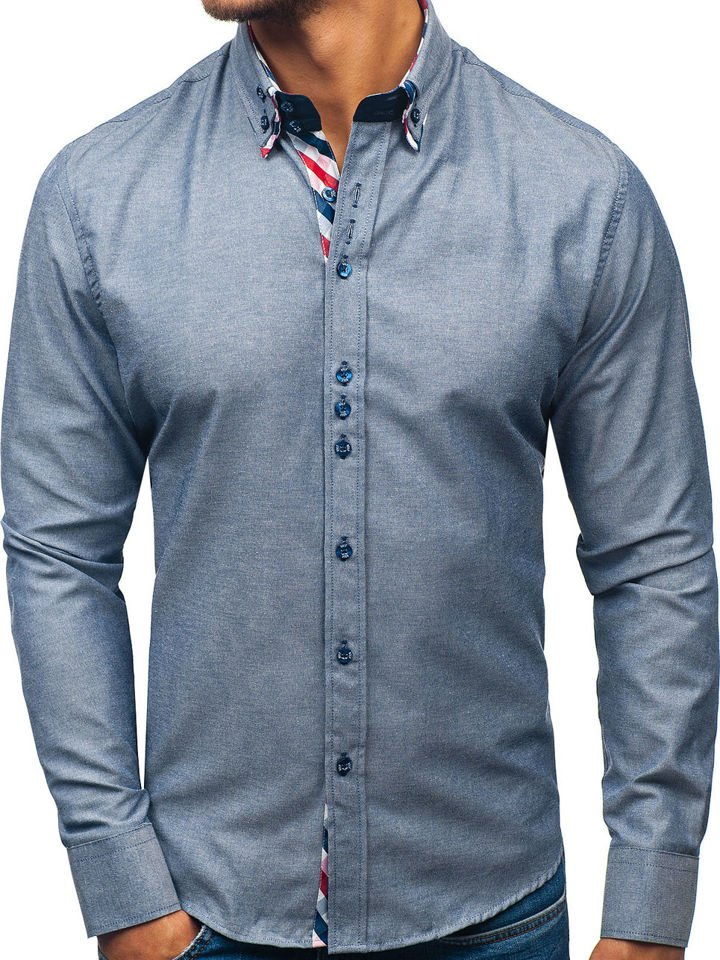 8d308e44dc2 Šedá pánská elegantní košile s dlouhým rukávem Bolf 2759