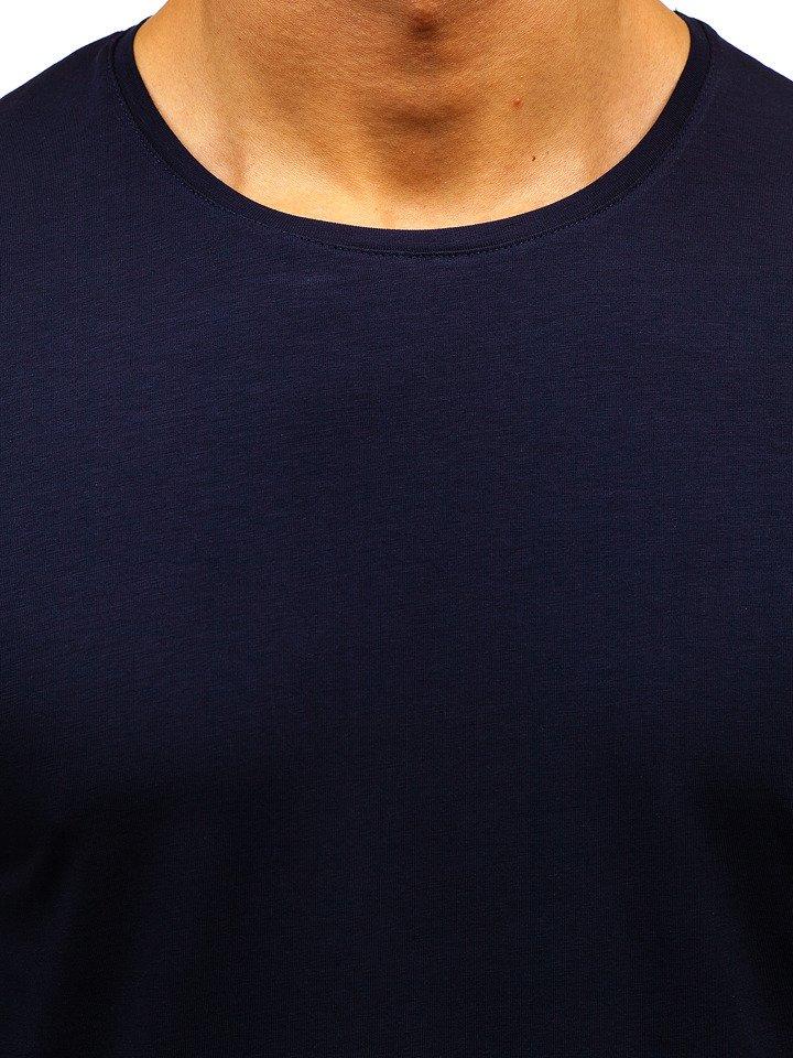 c4e48fe83 Tmavě modré pánské tričko bez potisku Bolf 172009-A