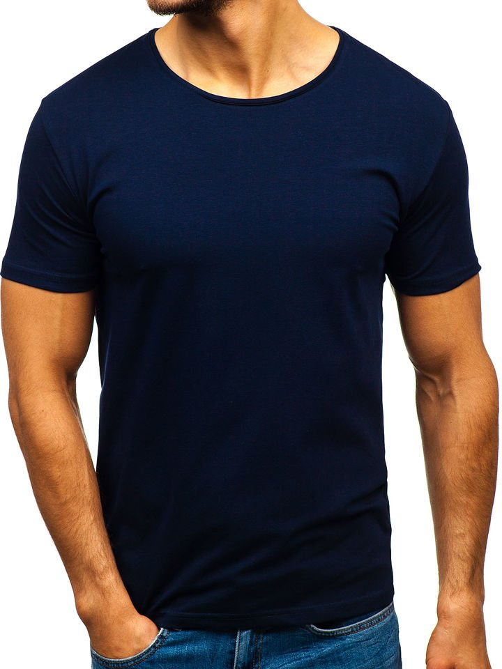 f9c2ac1e4 Tmavě modré pánské tričko bez potisku Bolf 9001