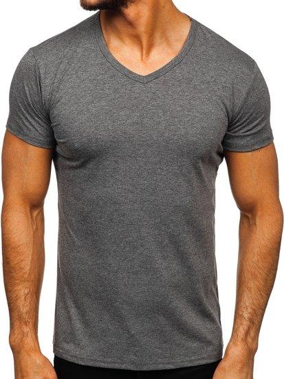 Antracitové pánské tričko bez potisku s výstřihem do V Bolf 2007