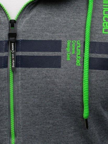 Antracitovo-zelená pánská mikina s kapucí Bolf HL14