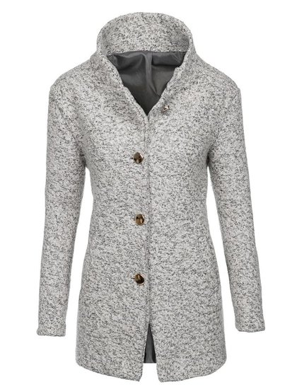 BÍlý dámský kabát Bolf 6011-1