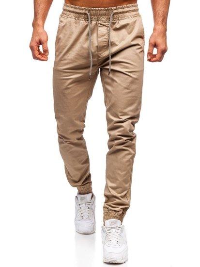 Béžové pánské jogger kalhoty Bolf KA951