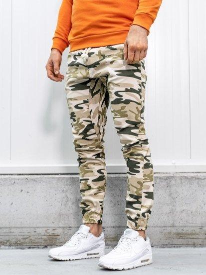Béžové pánské maskáčové jogger kalhoty Bolf 0367
