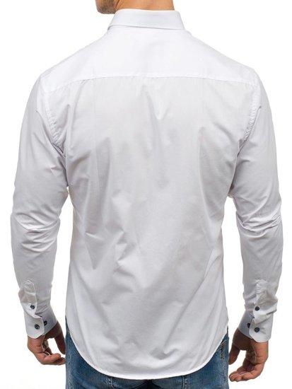 Bílá pánská elegantní košile s dlouhým rukávem Bolf 7726