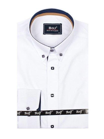 Bílá pánská elegantní košile s dlouhým rukávem Bolf 7727