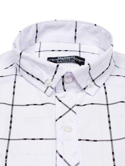 Bílá pánská kostkovaná košile s dlouhým rukávem Bolf 0280