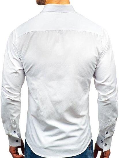 Bílá pánská vzorovaná košile s dlouhým rukávem Bolf 8843