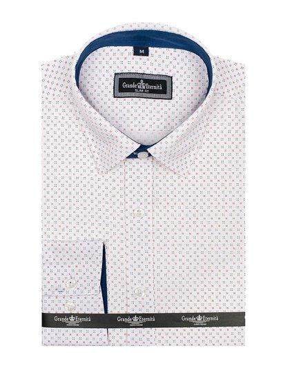 Bílá pánská vzorovaná košile s dlouhým rukávem Bolf GET1012