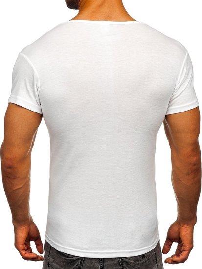 Bílé pánské tričko bez potisku Bolf NB003