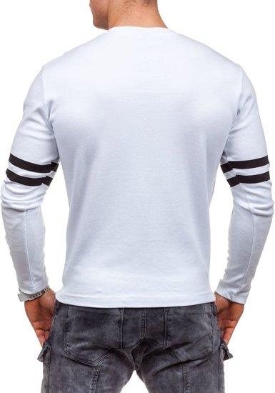 Bílé pánské tričko s dlouhým rukávem a potiskem Bolf 4629