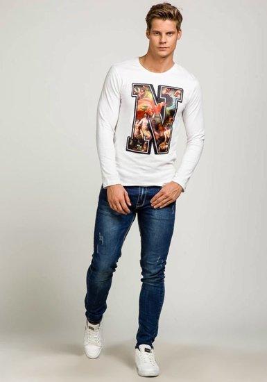 Bílé pánské tričko s dlouhým rukávem a potiskem Bolf 7338