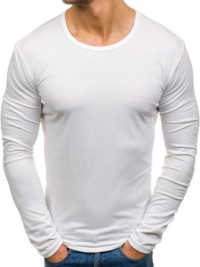 Bílé pánské tričko s dlouhým rukávem bez potisku Bolf 2099L