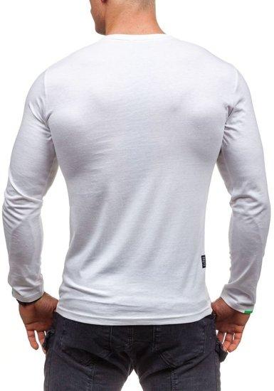 Bílé pánské tričko s dlouhým rukávem bez potisku Bolf 6161