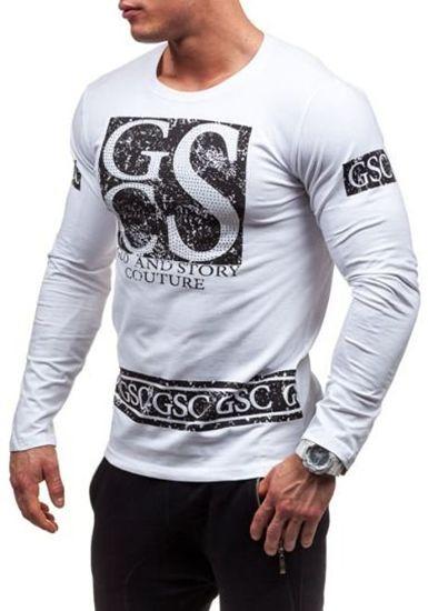 Bílé pánské tričko s dlouhým rukávem s potiskem Bolf 1935