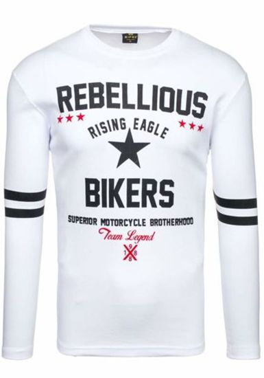 Bílé pánské tričko s dlouhým rukávem s potiskem Bolf 4631
