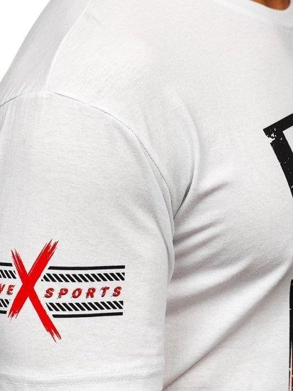 Bílé pánské tričko s potiskem Bolf 14312