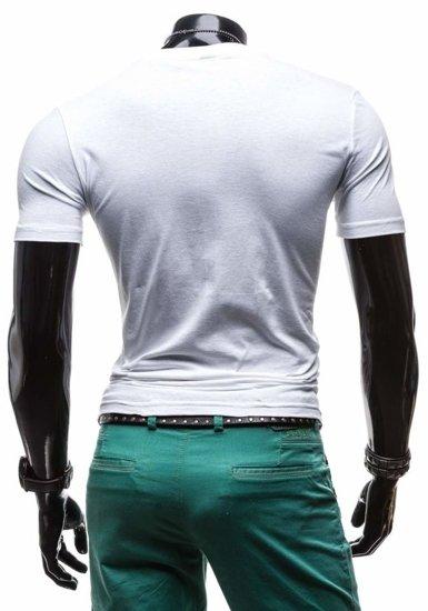 Bílé pánské tričko s potiskem Bolf 3212