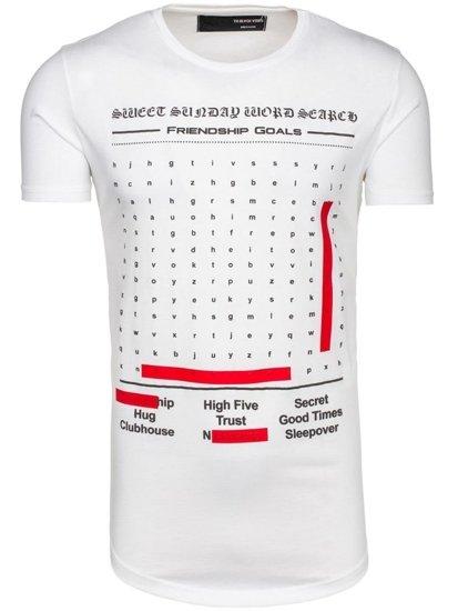 Bílé pánské tričko s potiskem Bolf 516