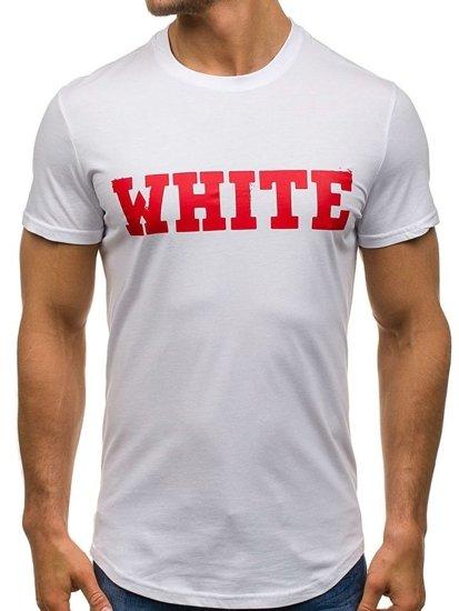 Bílé pánské tričko s potiskem Bolf S079