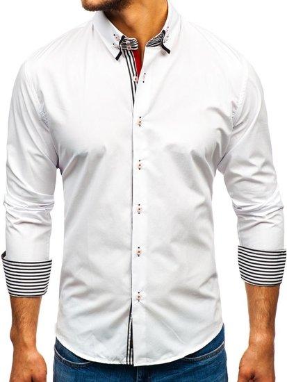 Bílo-černá pánská elegantní košile s dlouhým rukávem Bolf 1747