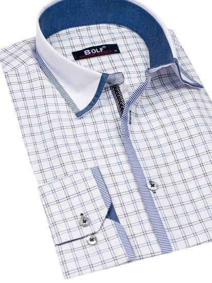 Bílo-černá pánská kostkovaná košile s dlouhým rukávem Bolf 8812