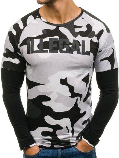 Bílo-černé pánské tričko s dlouhým rukávem Bolf 1162