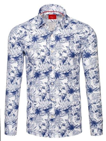 Bílo-tmavě modrá pánská vzorovaná košile s dlouhým rukávem Bolf 301G58