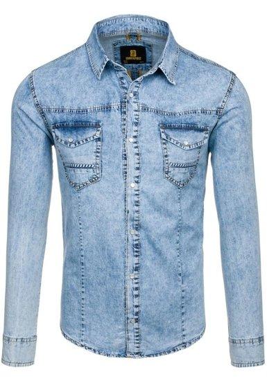 Blankytná pánská džínová košile s dlouhým rukávem Bolf 4416