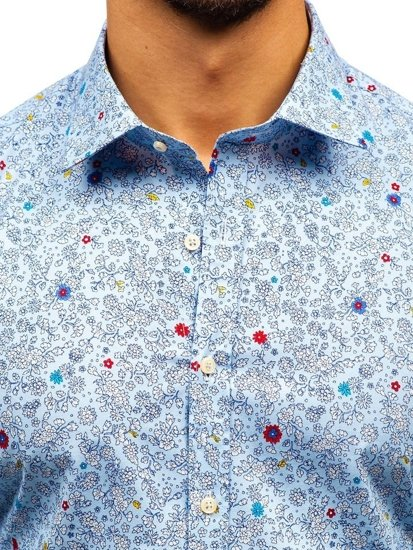 Blankytná pánská vzorovaná košile s dlouhým rukávem Bolf 300G7