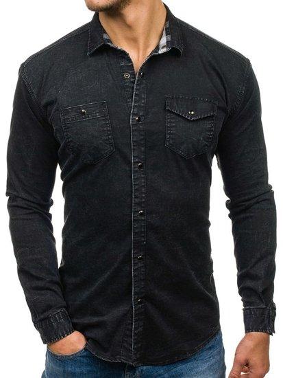 Černá pánská džínová košile s dlouhým rukávem Bolf 2050