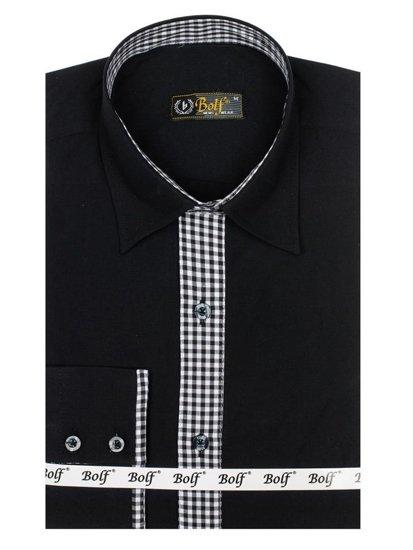 Černá pánská elegantní košile s dlouhým rukávem Bolf 0939