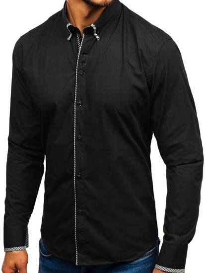 Černá pánská elegantní košile s dlouhým rukávem Bolf 2701-1