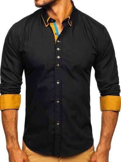 Černá pánská elegantní košile s dlouhým rukávem Bolf 3708
